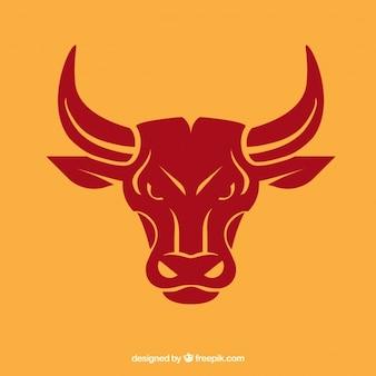 Bull head black icon vector