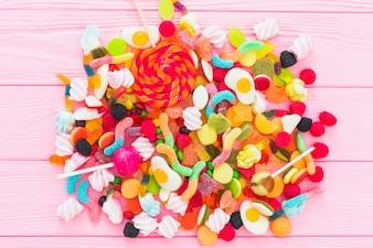 Bunch of gummies and lollipops