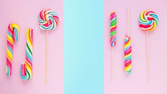Bunch of lollipops and candy canes
