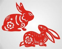 bunnies with red floral pattern