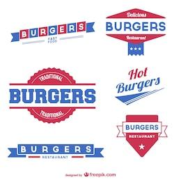 Burger labels vector set free download
