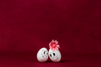 Burgundy background with pretty easter eggs
