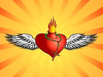 Burning heart fly Christianity vector