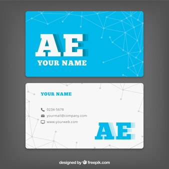 Business card in blue and white colors