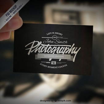 Business card mockup in retro style