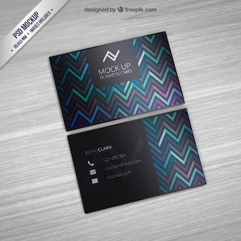Business card mockup with zigzag pattern