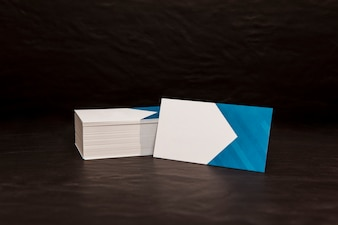 Business card pile mockup