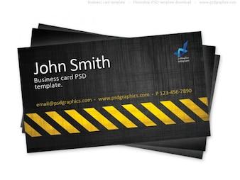 Business card template, construction hazard stripes theme