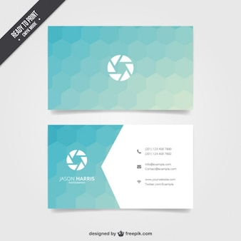 Business card with blue hexagons