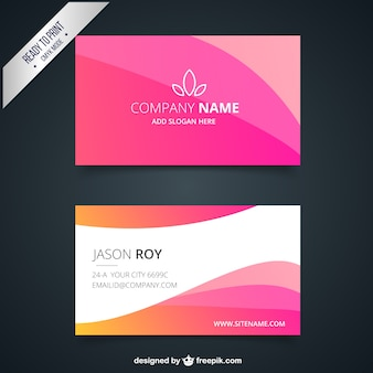 Business card with pink waves