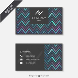 Business card with zigzag pattern