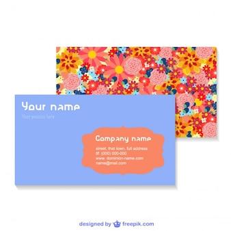 Business cards vector set floral design