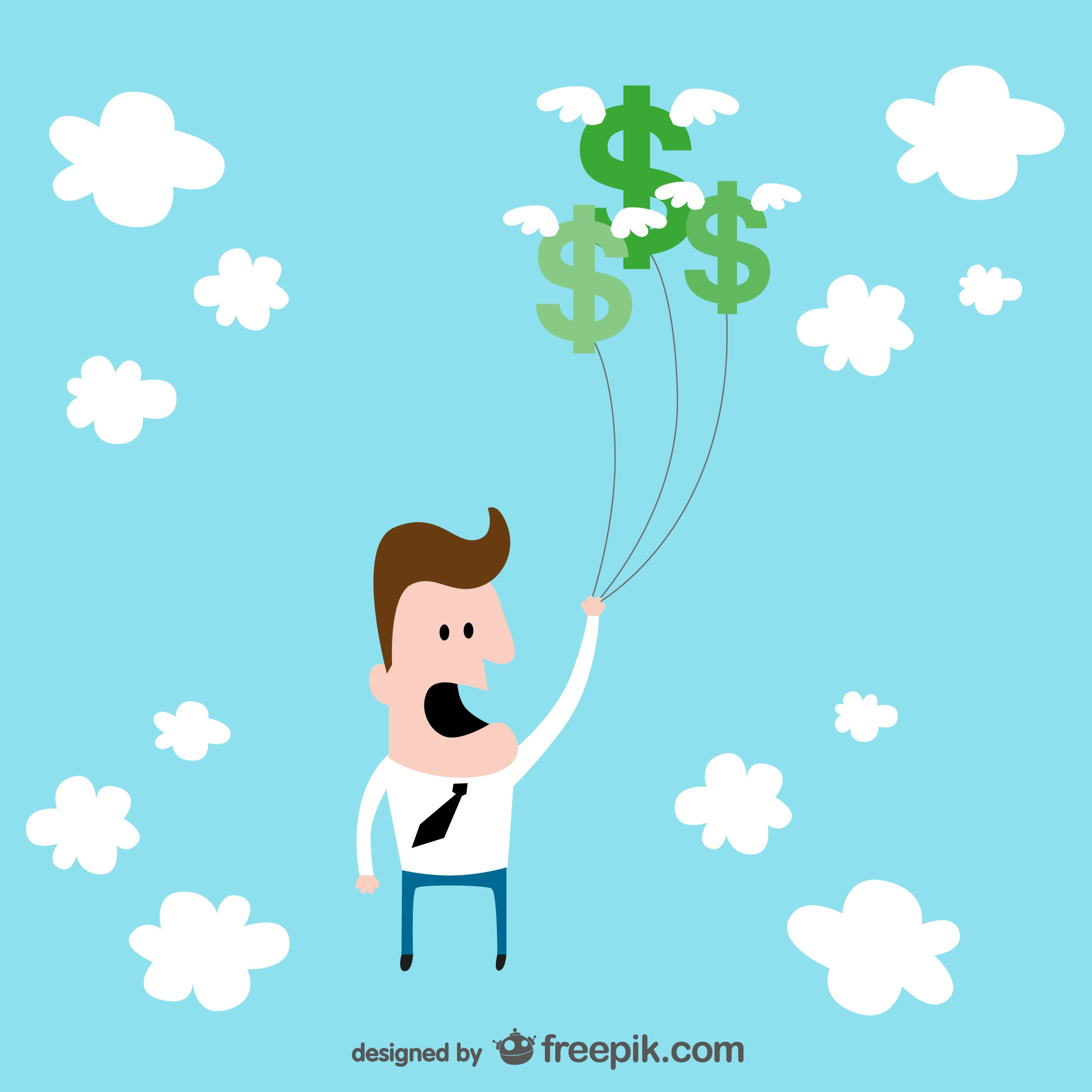 Business man flying funny vector