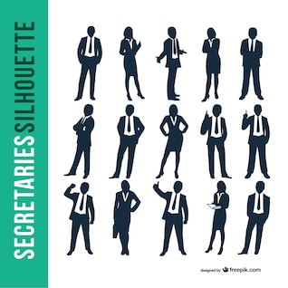 Business secretaries silhouette set