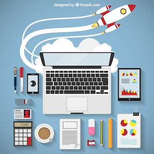 Business startup infography with rocket