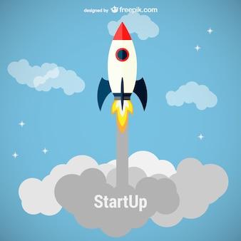 Business startup rocket launch