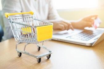 ビジネステーマのインターネットオンラインショッピングと配送のコンセプト