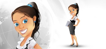 Business woman character with skirt.