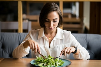 Business woman with salad