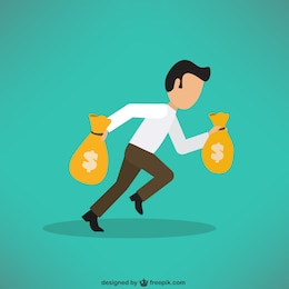 Businessman carrying a lot of money