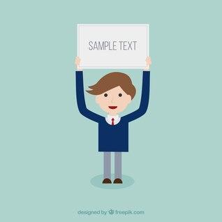Businessman cartoon with text box