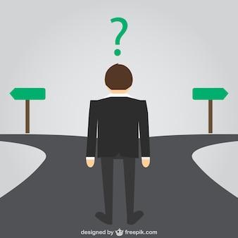 Businessman choosing the way