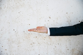 Businessman doing open hand gesture