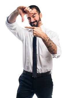 ビジネスマン、彼の、指、フォーカス