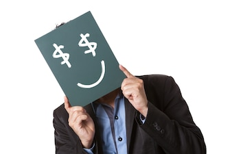 Businessman holding green blackboard isolated on white background with drawing smile emoticon on blackboard.