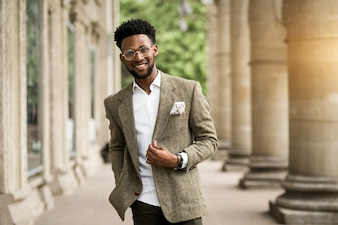 Businessman man african happy business