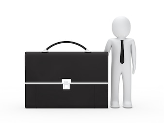 Businessman next to a black briefcase