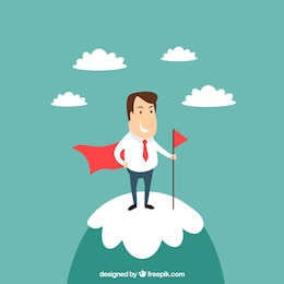 Businessman on the top of a mountain