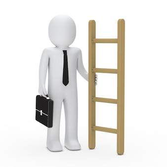 Businessman posing with a briefcase and a ladder