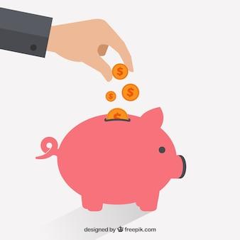 Businessman putting coin into piggybank