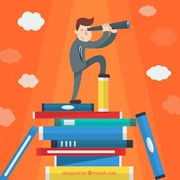 Businessman research cartoon