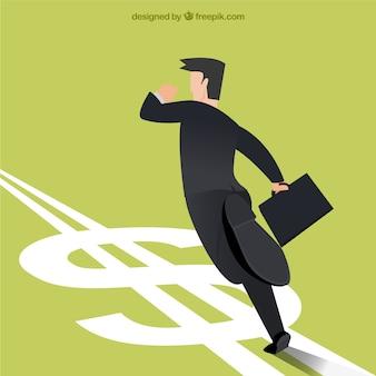 Businessman running in money direction
