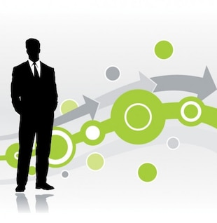 Businessman silhouette with circles and arrows