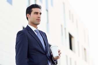 Businessman with a coffee