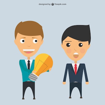 Businessmen characters sharing an idea