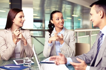 Businesspeople discussing a financial plan