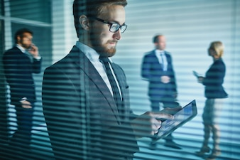 Businesspeople woman young businessman technology