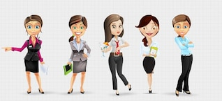 Businesswoman characters in clean style