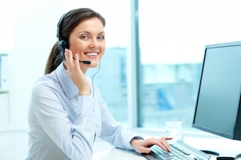 Businesswoman in a call center office
