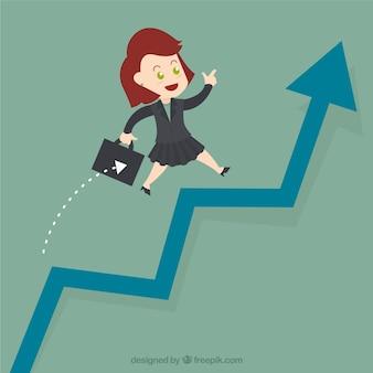 Businesswoman jump over growing chart