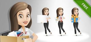 Businesswoman posing cartoon vector set