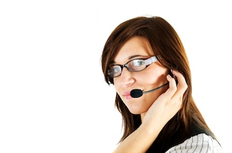 Businesswoman working with a headset