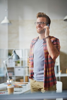 Busy man businessman calling corporate