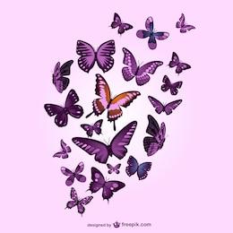 Butterflies vector pink background