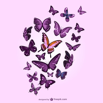 Butterflies vector pink background