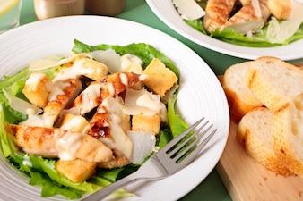Caesar salad with griddled chicken